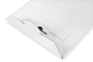 Beutel aus starrem weißen Papier, wiederverwendbar.