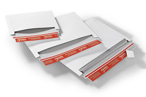 Briefumschläge aus starrem weißen Papier, wiederverwendbar.