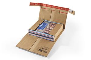 Verstärkte Wrap-Around-Verpackungen mit Sicherheitsklappe.