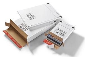 Estuches de cartón con tira autoadhesivo y tira de apertura.