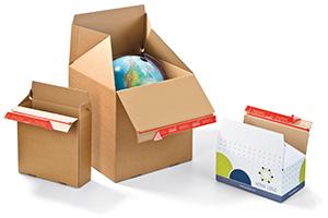 Cajas automontables, con una o dos tiras autoadhesivas.